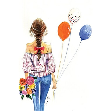 East Urban Home 'Balloon Girl' Painting Print on Canvas; 18'' H x 12'' W x 0.75'' D
