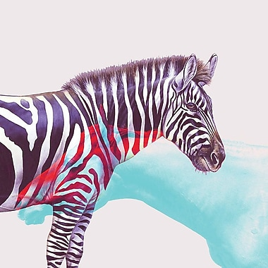 East Urban Home 'Horse And Zebra' Graphic Art Print on Canvas; 12'' H x 12'' W x 0.75'' D