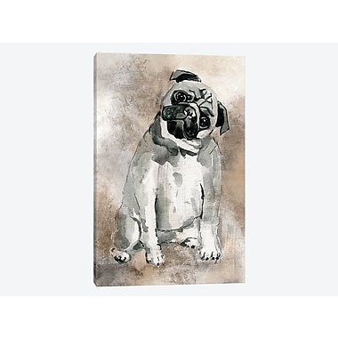 East Urban Home 'Sketchy Study: Pug' Painting Print on Canvas; 26'' H x 18'' W x 1.5'' D