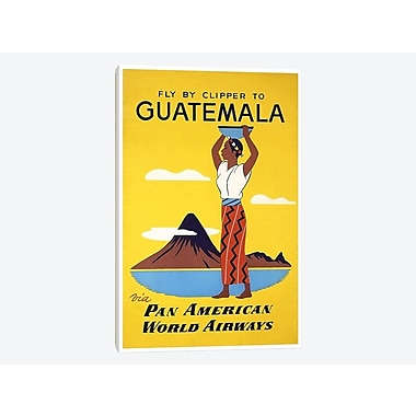 East Urban Home 'Fly By Clipper To Guatemala Via Pan American' Vintage Advertisement on Canvas