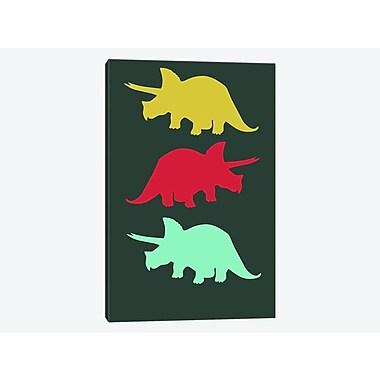 East Urban Home 'Torosaurus Triplets' Graphic Art Print on Canvas; 40'' H x 26'' W x 0.75'' D