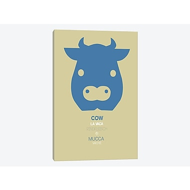 East Urban Home 'Multilingual Cow' Graphic Art Print on Canvas; 18'' H x 12'' W x 0.75'' D