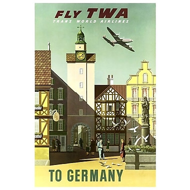 East Urban Home 'Germany - Fly TWA' Vintage Advertisement on Canvas; 12'' H x 8'' W x 0.75'' D