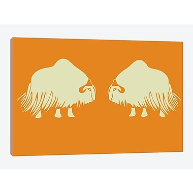 East Urban Home 'Two White Oxen' Graphic Art Print on Canvas; 40'' H x 60'' W x 1.5'' D