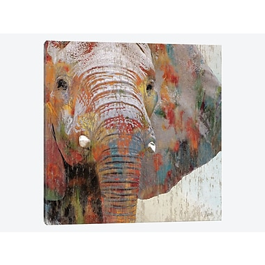 East Urban Home 'Paint Splash Elephant' Graphic Art Print on Canvas; 18'' H x 18'' W x 0.75'' D