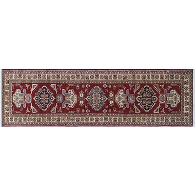 World Menagerie Heron Hand-Knotted Geometric Rectangle Red Area Rug