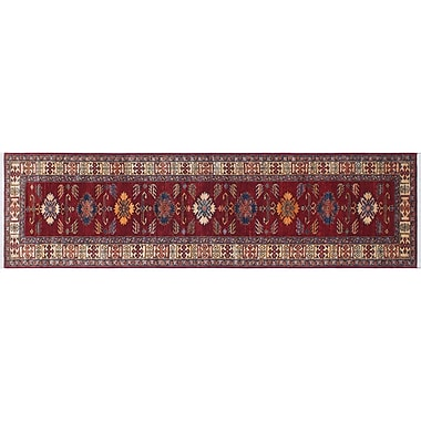 World Menagerie Heron Hand-Knotted Geometric Red Indoor Area Rug