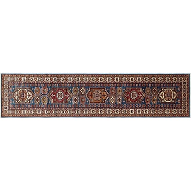 World Menagerie Heron Hand-Knotted Blue Premium Wool Area Rug