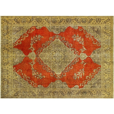 World Menagerie Victor Distressed Overdyed Hand-Knotted Orange Area Rug
