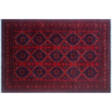 World Menagerie Alban Hand-Knotted Rectangle Red Area Rug