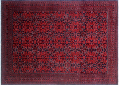 World Menagerie Alban Hand-Knotted Red Indoor Area Rug