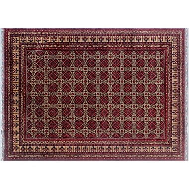 World Menagerie Linda Hand-Knotted Rectangle Red Area Rug