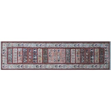 World Menagerie Acer Hand-Knotted Runner Red Area Rug