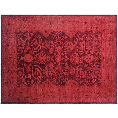 World Menagerie Rachelle Overdyed Hand-Knotted Red Area Rug