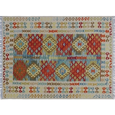 World Menagerie Aulay Kilim Hand-Woven Ivory Premium Wool Area Rug