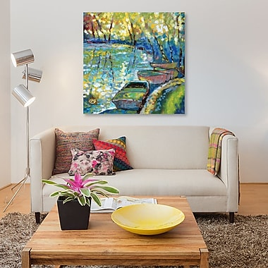 East Urban Home 'Summer Boats' Painting Print on Canvas; 12'' H x 12'' W x 0.75'' D