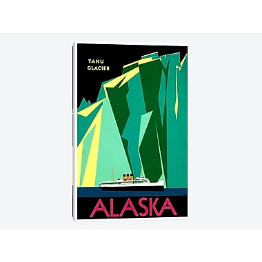 East Urban Home 'Alaska - Taku Glacier' Vintage Advertisement on Canvas; 18'' H x 12'' W x 1.5'' D