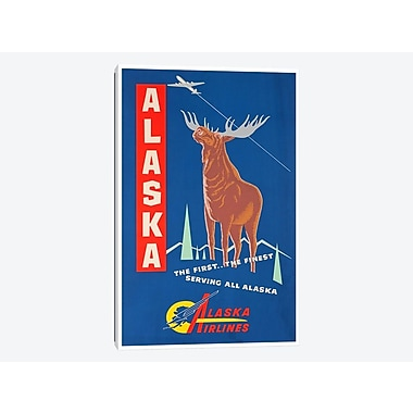 East Urban Home 'Alaska, the First The Finest - Alaska Airlines' Vintage Advertisement on Canvas