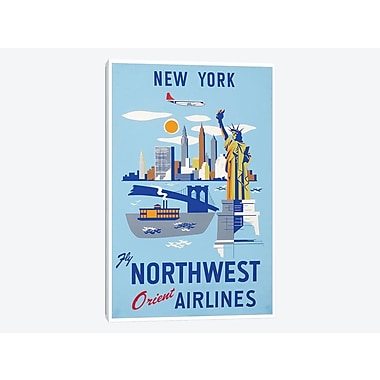 East Urban Home 'New York - Fly Northwest Orient Airlines' Vintage Advertisement on Canvas