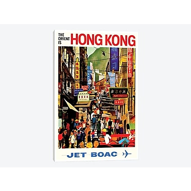 East Urban Home 'Hong Kong - Jet BOAC' Vintage Advertisement on Canvas; 26'' H x 18'' W x 1.5'' D