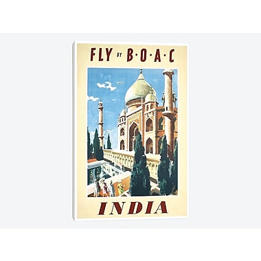 East Urban Home 'India - Fly By BOAC' Vintage Advertisement on Canvas; 18'' H x 12'' W x 1.5'' D