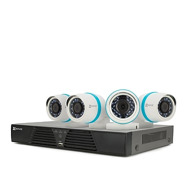 EZVIZ 4-Channel Security System, 4 x Weatherproof 1080p Bullet Cameras, 1 TB NVR (BN-1424A1)
