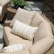 Woodard Saddleback One Arm Chair w/ Cushions; Sunbrella Bamboo Natural