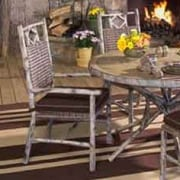 Woodard River Run Dining Arm Chair w/ Cushion; Sunbrella Bamboo Natural