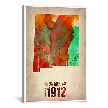 iCanvas New Mexico Watercolor Map by Naxart Graphic Art on Wrapped Canvas; 6'' H x 4'' W x 1.5'' D
