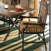 Woodard Chatham Dining Arm Chair w/ Cushion; Sunbrella Bamboo Natural