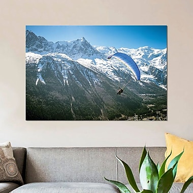 East Urban Home 'Mountain Paragliding V' Photographic Print on Canvas; 12'' H x 18'' W x 1.5'' D