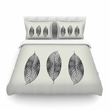 East Urban Home Julia Grifol Three Leaves Nature Featherweight Duvet Cover; Twin