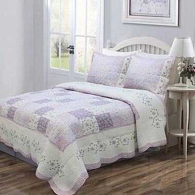 Cozy Line Home Fashion Love of Lilac Quilt Set; Full/Queen