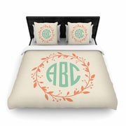 East Urban Home Classic Wreath Monogram Typography Woven Duvet Cover; Twin