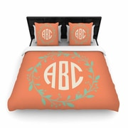 East Urban Home Classic Wreath Monogram Illustration Woven Duvet Cover; Twin