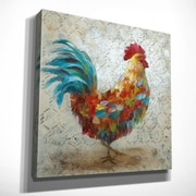 August Grove 'Fancy Rooster I' Oil Painting Print on Wrapped Canvas; 32'' H x 32'' W x 1.5'' D