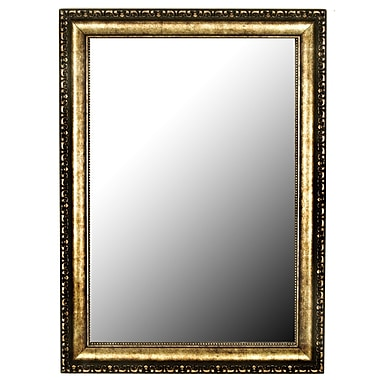 Astoria Grand Silver-Aged Gold Framed Accent Wall Mirror; 37'' H x 27'' W x 0.75'' D