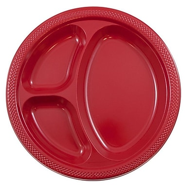 JAM Paper® Round Plastic Plates with Divided Compartments, Large, 10