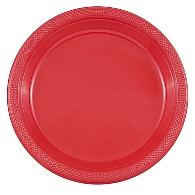 JAM Paper® Round Plastic Plates, Large, 10