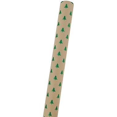 JAM Paper® Christmas Wrapping Paper, 11.5 sq. ft, Kraft Glitter Trees (165532320)