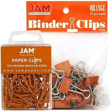 JAM Paper® Office Desk Supplies Bundle, Paper Clips & Binder Clips, Orange (218334or)