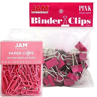 JAM Paper® Office Desk Supplies Bundle, Paper Clips & Binder Clips, Pink (218334pi)