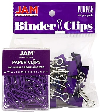 JAM Paper® Office Desk Supplies Bundle, Paper Clips & Binder Clips, Purple (218334pu)