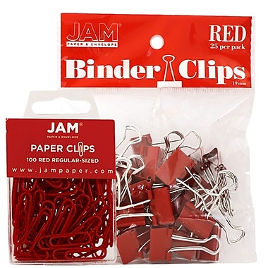 JAM Paper® Office Desk Supplies Bundle, Paper Clips & Binder Clips, Red (218334re)
