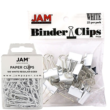 JAM Paper® Office Desk Supplies Bundle, Paper Clips & Binder Clips, White (218334wh)