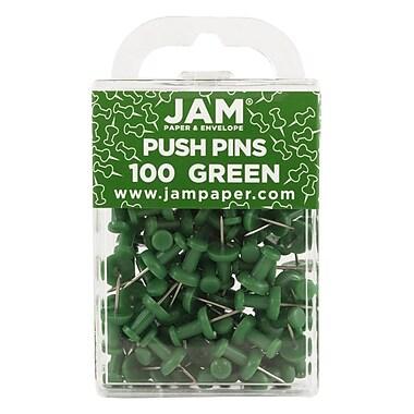 JAM Paper® Push Pins, Green, 100/Pack (2242954)