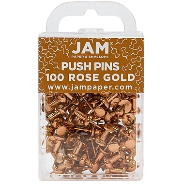 JAM Paper® Push Pins, Rose Gold, 100/Pack (22432063)