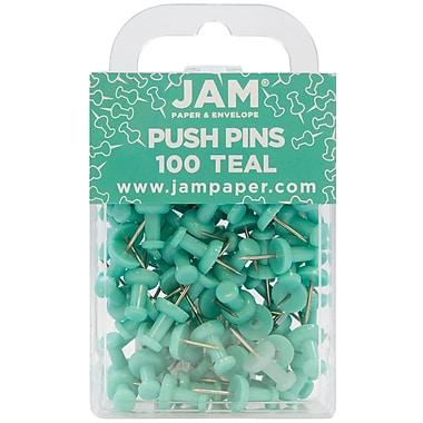 JAM Paper® Push Pins, Teal, 100/Pack (22432067)