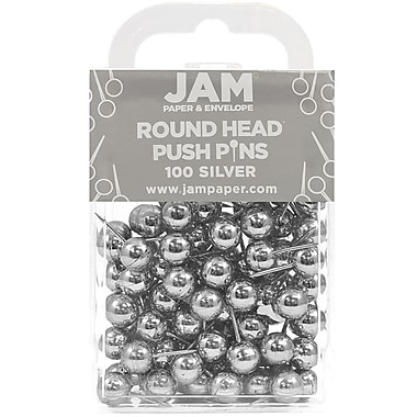 JAM Paper® Metal Thumb Tacks Push Pins, Round Top, Silver, 100/Pack (22432214)