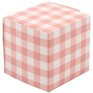 Jam Paper – Boîtes-cadeaux lustrées, 2 x 2 x 2 po, vichy pêche, 10/paquet (238327091)